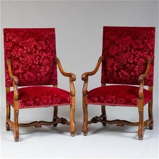 Pair of Louis XIV Style Carved Beechwood Fauteuils à la