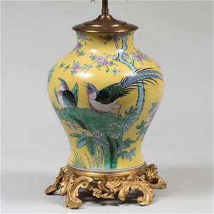 Chinese Famille-Jaune Vase Mounted as a Lamp