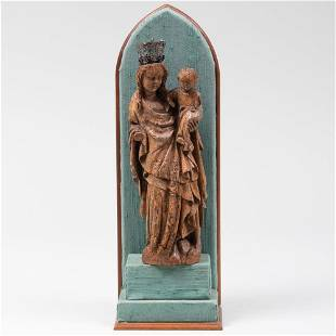 Renaissance Style Carved Wood Figure of the Madonna and