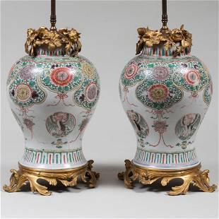 Pair of Ormolu-Mounted Chinese Wucai Porcelain Jars