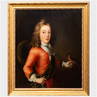 French School: Portrait of Young Boy with a Bird