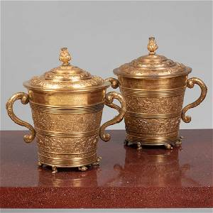 Pair of Large Danish Renaissance Style Gilt-Metal Cups