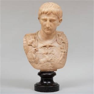Italian Carved Marble Bust of Augustus Caesar