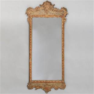 Danish Rococo Painted and Parcel-Gilt Mirror