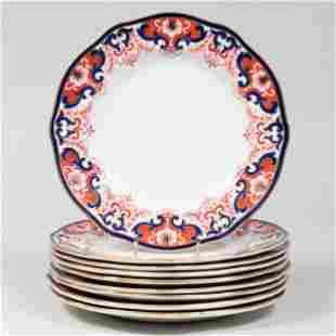 Set of Nine Royal Crown Derby Porcelain Dinner Plates