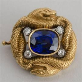 Russian 14k Gold, Sapphire and Diamond Brooch