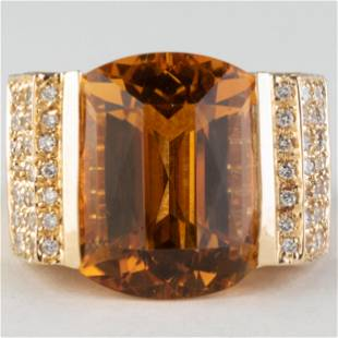 Sonia Bitton 14k Gold, Citrine and Diamond Ring