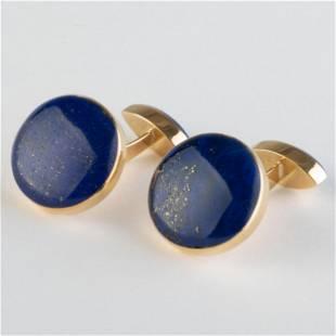 Pair of 18k Gold and Lapis Lazuli Cufflinks