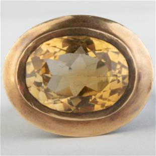 Modern Citrine, Sterling Silver and 22k Gold Ring