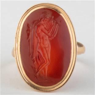 Fine Carnelian Agate Intaglio Set in a Collectors Ring