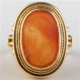 Fine Carnelian Agate Intaglio of a Man Set in a Gold