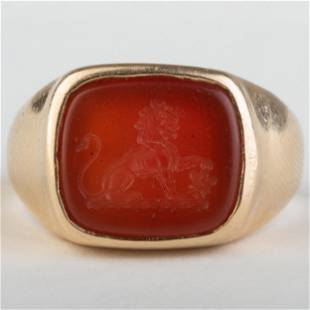 Carnelian Agate Intaglio of a Lion Set in a Gold Ring