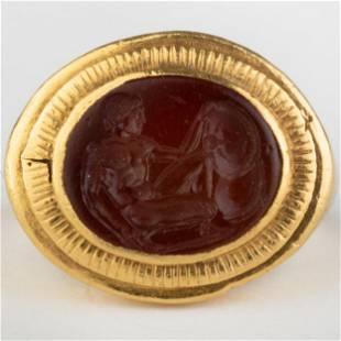 Carnelian Agate Intaglio Ring