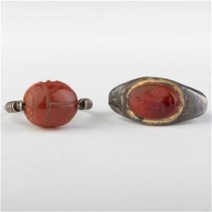 Two Carnelian Agate Rings