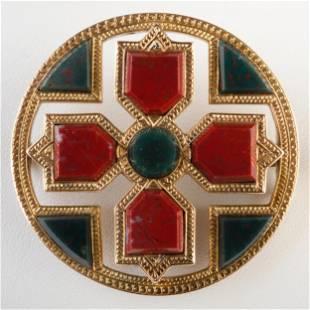 Victorian Scottish 14k Gold, Sard and Bloodstone Brooch