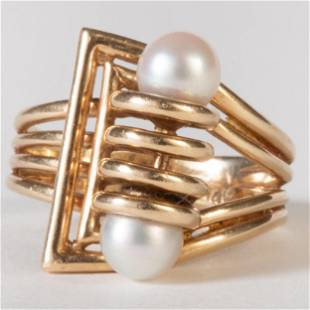 Retro 14k Gold and Cultured Pearl Ring