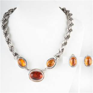 Lori Bonn Sterling Silver and Amber Necklace and a Pair
