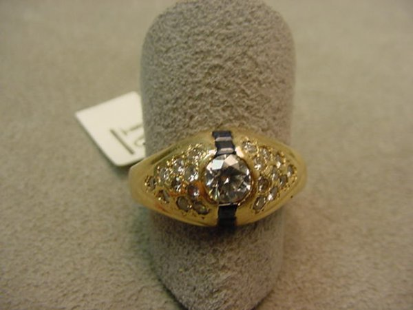 5010: 14K GOLD .40 CT DIAMOND AND STONE RING