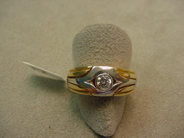 5014: 10K 2-TONE CLEAR STONE RING