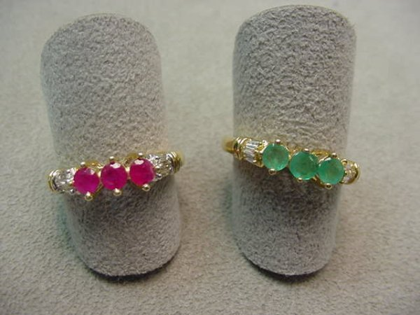 5024: 2 10K RINGS SET WITH RUBIES, EMERALDS, DIAMONDS