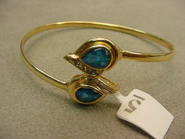 6005: 14K GOLD OPAL MOSAIC TRIPLET AND DIAMOND BRACELET