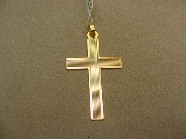 6010: 1 14K GOLD CROSS PENDANT--2 1/8 X 1 1/8 INCHES