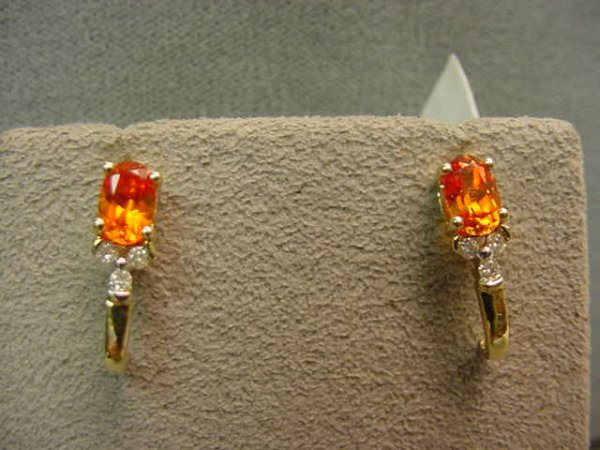 6014: PAIR 10K SAPPHIRE AND DIAMOND EARRINGS