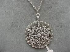 6150: ANTIQUE PLATINUM FILIGREE DIAMOND PENDANT
