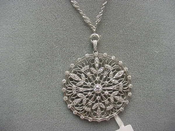 6150: ANTIQUE PLATINUM FILIGREE DIAMOND PENDANT