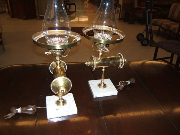 7080: 2 BRASS AND MARBLE LAMPS -NO SHADES