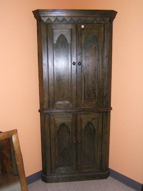 7084: PINE 4 DOOR CORNER CABINET