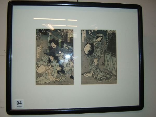 7094: FRAMED JAPANESE WOODBLOCK DIPTYCH