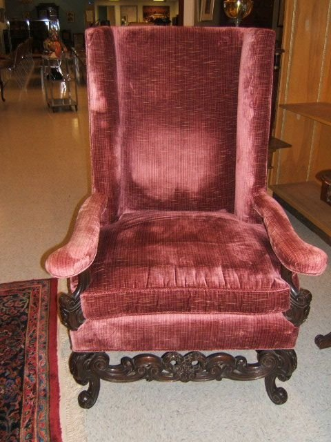 7095: HIGHBACK ARM CHAIR WITH CARVED FRAME