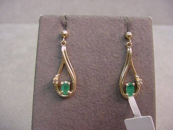 1019: PAIR 10K GOLD EMERALD AND DIAMOND EARRINGS