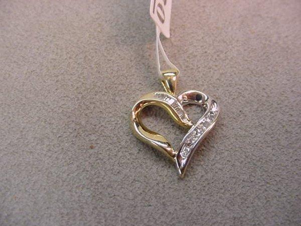 1020: 10K YELLOW & WHITE GOLD DIAMOND HEART PENDANT