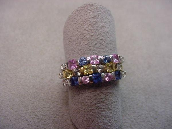 1344: 3 10K GOLD RINGS -SAPPHIRES & DIAMONDS