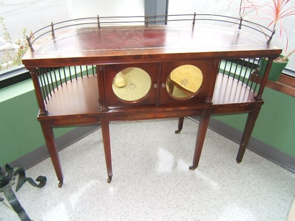 2101: LEATHER TOP TABLE WITH BRASS GALLERY
