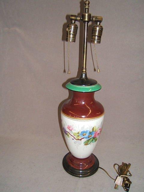 2102: 2 MATCHING HANDPAINTED PORCELAIN LAMPS