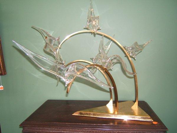 2106: MURANO GLASS BIRD GROUP ON METAL BASE