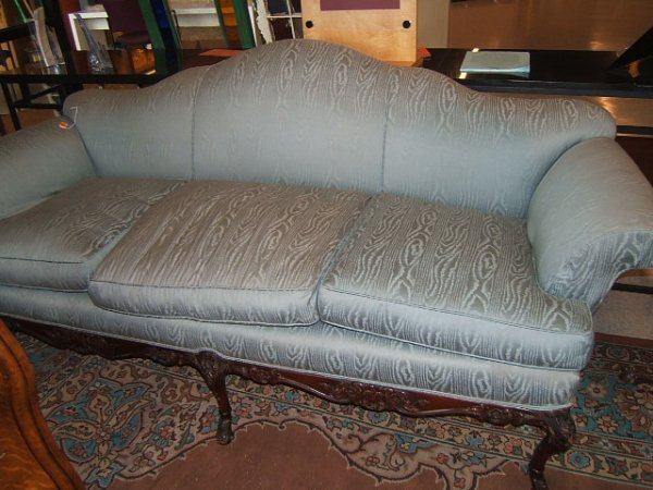 2110: UPHOLSTERED SOFA WITH CARVED FRAME