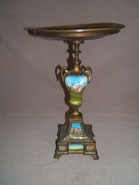 2116: METAL AND PORCELAINE TAZZA WITH BRONZE TOP