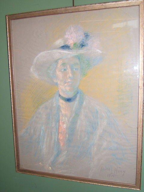 2128: FRAMED PASTEL SIGNED ALICE HUGY DATED 1915