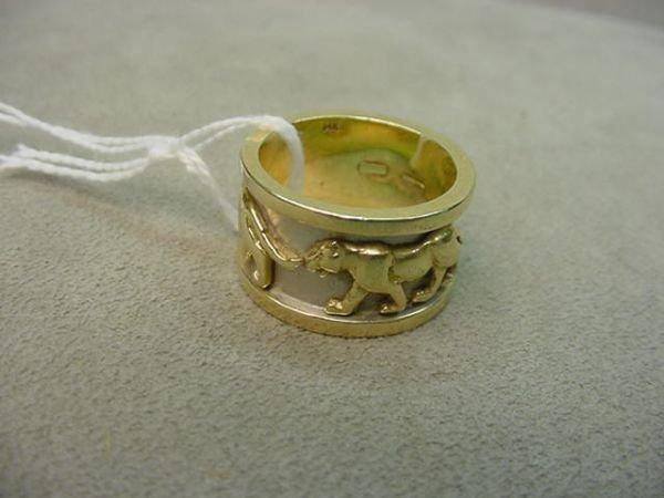 2121: 14K GOLD PANTHER DESIGN BAND
