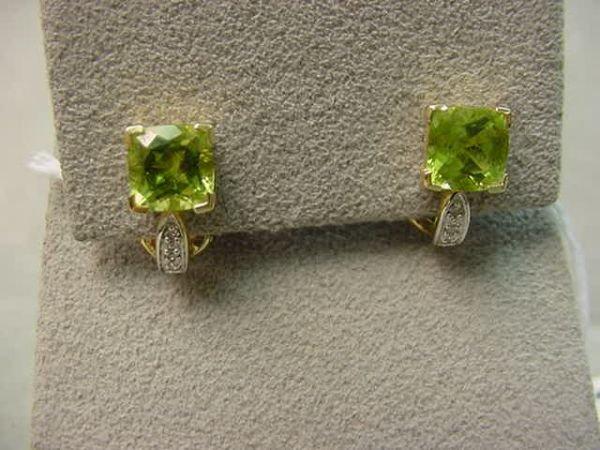 2123: PAIR 14K GOLD PERIDOT AND DIAMOND EARRINGS