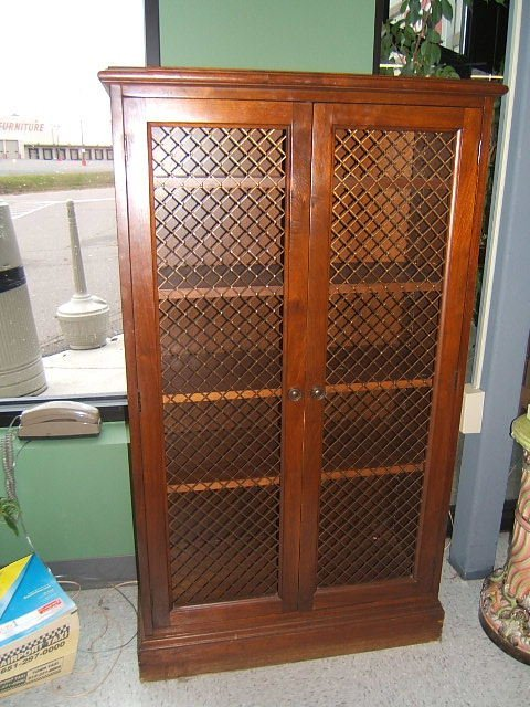 3104: 2 DOOR WALNUT BOOKCASE