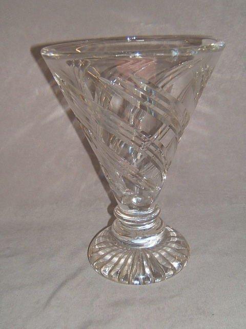 3112: HEAVY CUT GLASS VASE SIGNED STUART