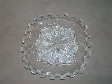 3135: MERIDENS GREEK KEY CUT GLASS SQUARE PLATE