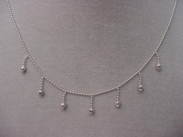4001: ADJUSTABLE LENGTH 14K WHITE GOLD BEAD NECKLACE