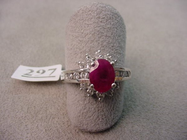 4297: 10K WHITE GOLD RUBY AND DIAMOND RING