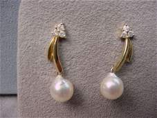 4311 14K GOLD BAROQUE PEARL AND DIAMOND EARRINGS